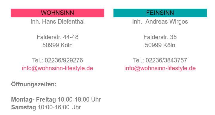Kontakt und Öffnungszeiten: Wohnsinn | Feinsinn