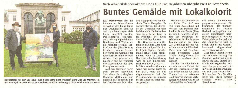 Presseartikel Westfalen Blatt vom 14.01.2021 über die Übergabe YOUR-ART von Susanne Herbold